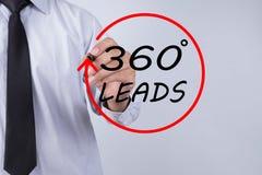 Mano del hombre de negocios que escribe las ventajas de 360 grados con la boa roja del markeron Imagen de archivo