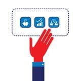 Mano del hombre de negocios que muestra a iconos del web concepto acertado del negocio diseño plano moderno Imágenes de archivo libres de regalías