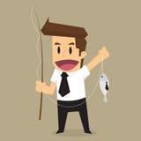 Mano del hombre de negocios que sostiene la caña de pescar, engañada de hacer negocio stock de ilustración