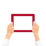 Mano del hombre de negocios que sostiene la tableta Imágenes de archivo libres de regalías