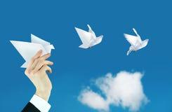 Mano del hombre de negocios y collage de la paloma del papel Fotografía de archivo libre de regalías