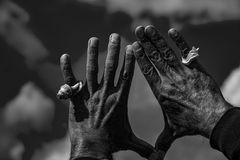 Mano del hombre negro con una cáscara en el cielo Foto de archivo libre de regalías