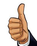 Mano del hombre que hace un pulgar encima del gesto Imagen de archivo