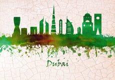 Mano del horizonte de Dubai UAE dibujada ilustración del vector