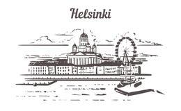 Mano del horizonte de Helsinki dibujada Estilo del bosquejo de Helsinki stock de ilustración