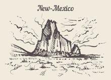 Mano del horizonte de New México dibujada Ejemplo del vector del estilo del bosquejo de New México libre illustration