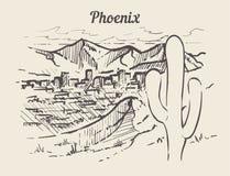Mano del horizonte de Phoenix dibujada Ejemplo del vector del estilo del bosquejo de Phoenix libre illustration