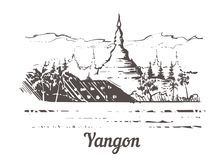 Mano del horizonte de Rangún dibujada Pagoda de Shwedagon en el ejemplo del estilo del bosquejo de Rangún libre illustration