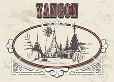 Mano del horizonte de Rangún dibujada Pagoda de Shwedagon en el ejemplo del estilo del bosquejo de Rangún stock de ilustración