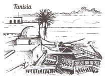 Mano del horizonte de Túnez dibujada Ejemplo del vector del estilo del bosquejo de Túnez libre illustration
