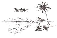 Mano del horizonte de Túnez dibujada Ejemplo del vector del estilo del bosquejo de Túnez Palm Beach stock de ilustración
