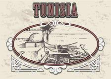 Mano del horizonte de Túnez dibujada Ejemplo del vector del estilo de Túnez en marco del vintage libre illustration