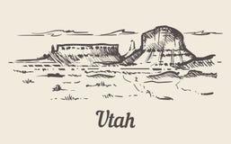 Mano del horizonte de Utah dibujada Ejemplo del vector del estilo del bosquejo de Utah stock de ilustración