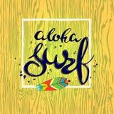 Mano del letterin de la resaca de la hawaiana dibujada con el tablero de resaca Imagen de archivo