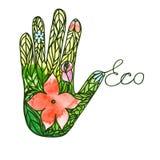 Mano del logotipo que consiste en imagen ecológica del vector de la súplica de las hojas y de las flores ilustración del vector