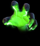 Mano del mago con efecto del relámpago Fotos de archivo libres de regalías