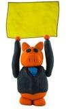 Mano del maiale di affari su con il segno Fotografia Stock