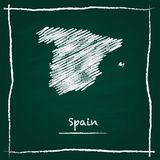 Mano del mapa del vector del esquema de España dibujada con tiza encendido Foto de archivo
