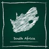 Mano del mapa del vector del esquema de Suráfrica dibujada con libre illustration