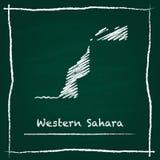 Mano del mapa del vector del esquema de Western Sahara dibujada con ilustración del vector