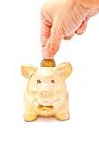 Mano del maschio che mette una moneta alla banca piggy immagine stock libera da diritti