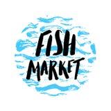 Mano del mercado de pescados dibujada Imágenes de archivo libres de regalías