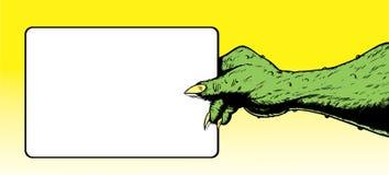 Mano del monstruo que lleva a cabo una muestra. libre illustration