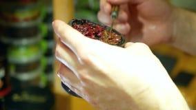 Mano del narghilé del tabacco stock footage