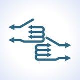 Mano del negocio con la muestra de las flechas Fotografía de archivo