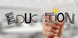 Mano del negocio que dibuja la EDUCACIÓN del diseño gráfico foto de archivo libre de regalías