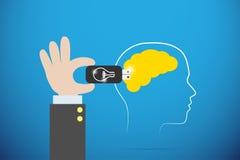 Mano del negocio que tapa memoria USB en cerebro amarillo, idea de la bombilla y entrenando concepto Foto de archivo libre de regalías