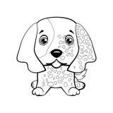 Mano del organismo inglés del perrito del perro dibujada Imagen de archivo libre de regalías