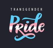 Mano del orgullo del transexual escrita poniendo letras al cartel LGBT endereza concepto ilustración del vector