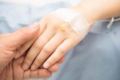 Mano del paciente del control de la mano Fotografía de archivo libre de regalías