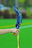 Mano del palillo de las muchachas del lacrosse apagado Fotos de archivo
