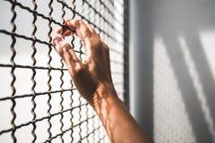 Mano del preso que sostiene la cerca rústica del metal con la sombra del modelo, bloqueado criminal en cárcel fotos de archivo