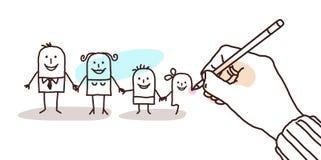 Mano del progettista che disegna una famiglia del fumetto illustrazione di stock