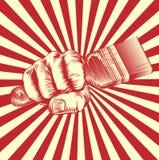 Mano del puño de la brocha del grabar en madera de la propaganda ilustración del vector