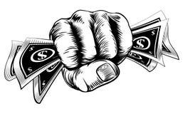 Mano del pugno del denaro contante Immagine Stock