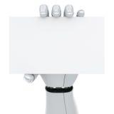 Mano del robot che tiene un segno in bianco Fotografie Stock