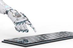 Mano del robot con el teclado ilustración del vector