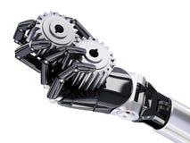 Mano del robot con l'illustrazione di concetto 3d di automazione delle ruote dentate Immagine Stock