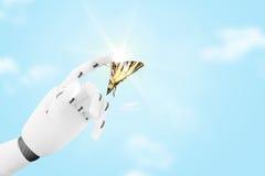Mano del robot con una farfalla su it& x27; dito di s Fotografie Stock