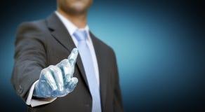 Mano del robot del hombre de negocios Fotografía de archivo