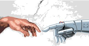 Mano del robot e dell'essere umano Fotografia Stock