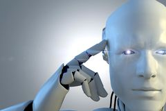 Mano del robot en el fondo negro Tecnología del robot para el futuro stock de ilustración