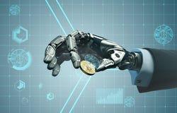 Mano del robot en el traje de negocios que lleva a cabo el bitcoin entre los fingeres libre illustration