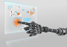 Mano del robot que señala en el interfaz futurista Fotos de archivo