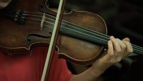 Mano del ` s de la muchacha en las secuencias de un violín Mano del ` s de la muchacha en el violín del fingerboard almacen de metraje de vídeo