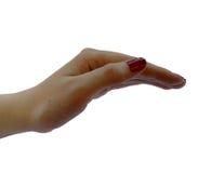 Mano del ` s de la mujer, palmas que hacen frente abajo en fondo aislado y transparente Foto de archivo libre de regalías